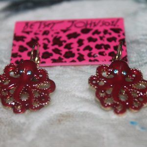 Nwt: Sea Life: Maroon Octupus Earrings